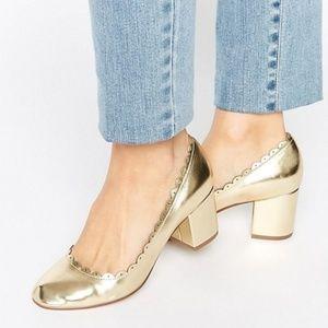 ASOS Sultan Gold Scallop Block Heels